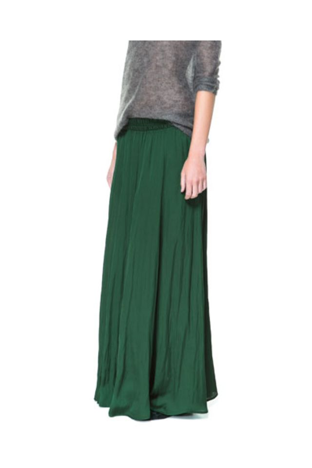 ca98a1f6c Falda larga fluida verde talla m / Zara | Ropa | Faldas largas ...