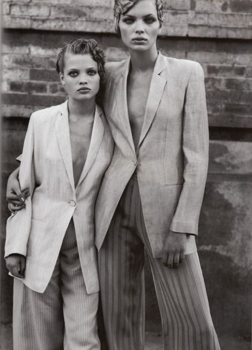 Esther Canadas & Mélanie Thierry by Peter Lindbergh.Attractiveness,Vogue Italy, March 1998