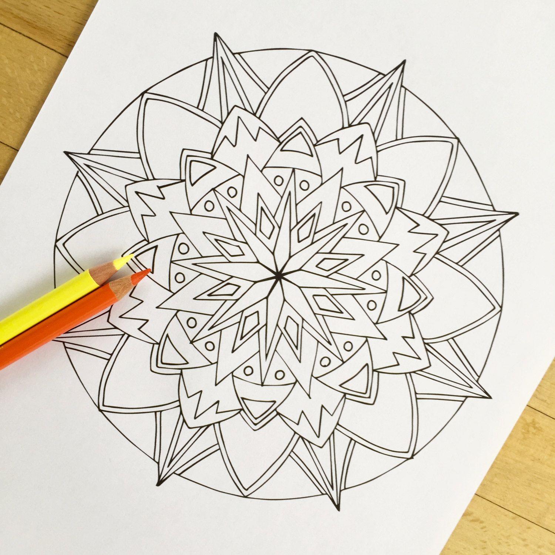 mandala starburst hand drawn adult coloring page mauindiarts