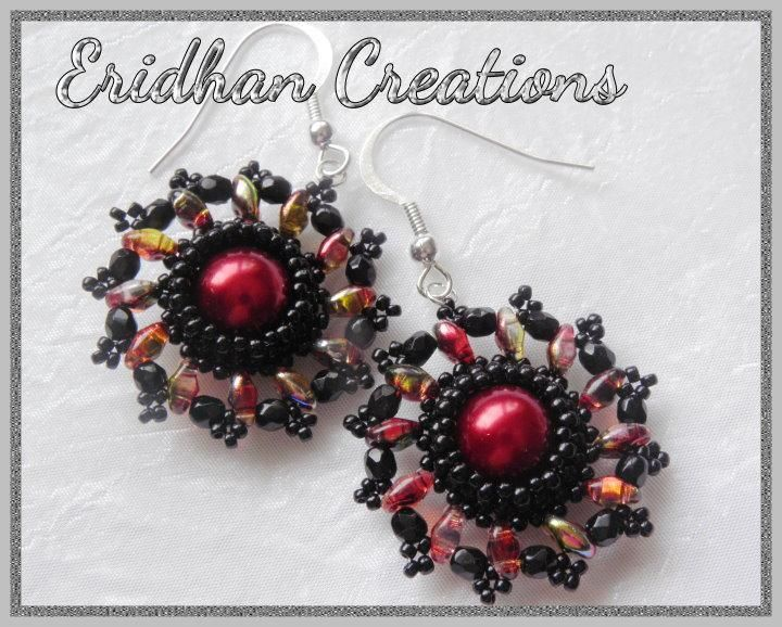 red and black Materials:  •Amount for one earring: •1 x 10mm round bead •12 x SuperDuo beads •12 x 3mm fire polished beads •60 x size 11 seed beads •96 x size 15 seed beads •jump ring, earring hook