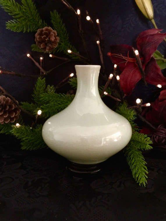 Chinese celadon porcelain vintage glazed squat globular vase