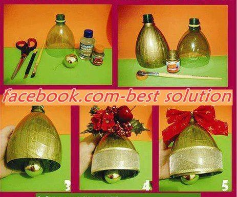 Home made pop bottle bell recycle reuse pinterest for Christmas decorations from recycled plastic bottles