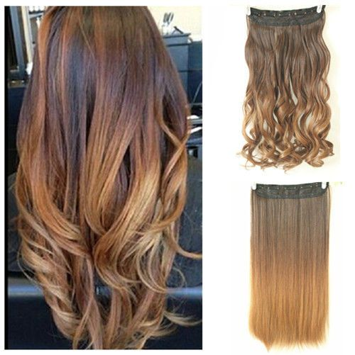 Hot Fashion Clip in on Ombre Hair Extensions Straight Curly Wavy ...