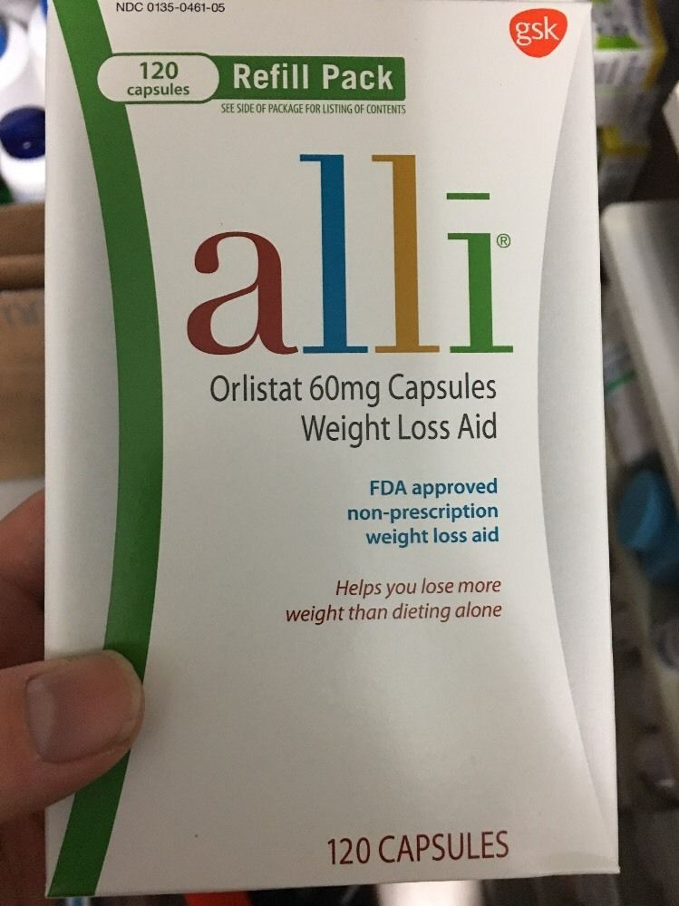 Alli Weight Loss Aid Orlistat 60 Mg Capsules Refill Pack 120caps Box