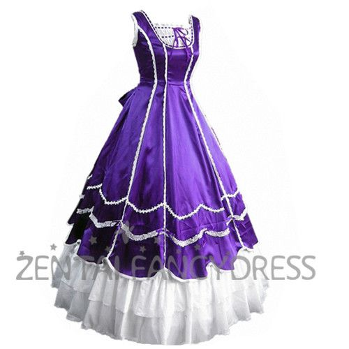 Sleeveless Square Neck Purple Satin Gothic Victorian With White ...