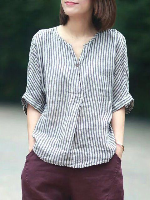 c2935db8f27f5 Buy Linen Tops For Women from VIVID LINEN at Stylewe. Online Shopping V Neck  Stripes Printed Linen Top