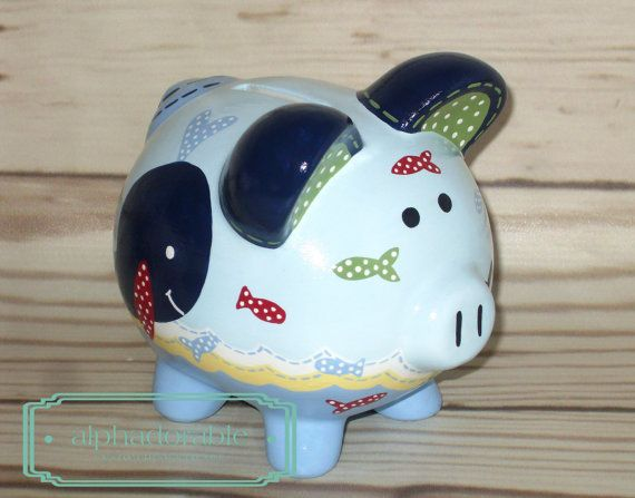 """SMALL artisan hand painted ceramic personalized piggy bank ~Jackson Whale nautical theme 5"""""""