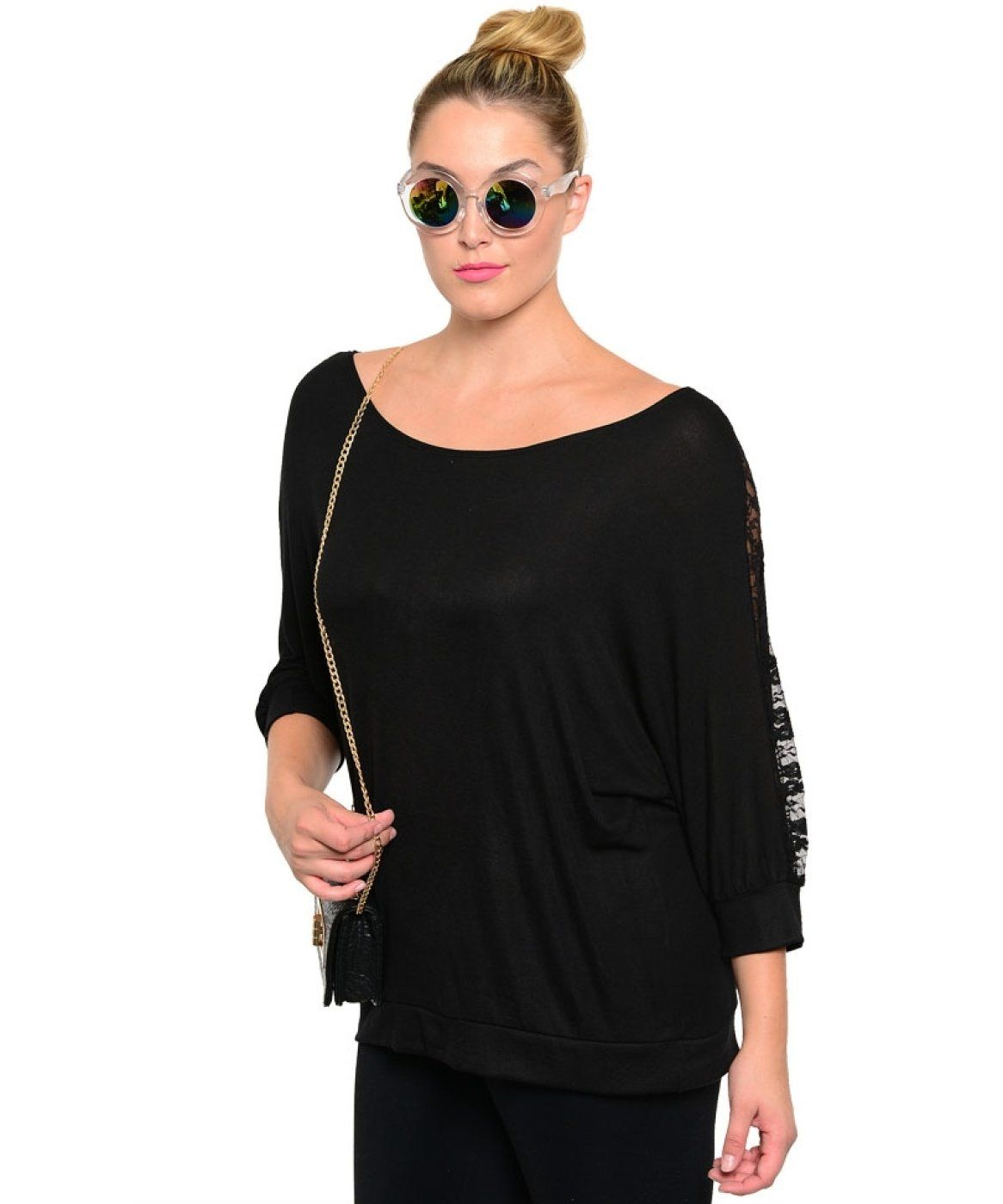 2LUV Plus Women's 3/4 Floral Lace Sleeve Boat Neck Top Black 1XL (1754X)