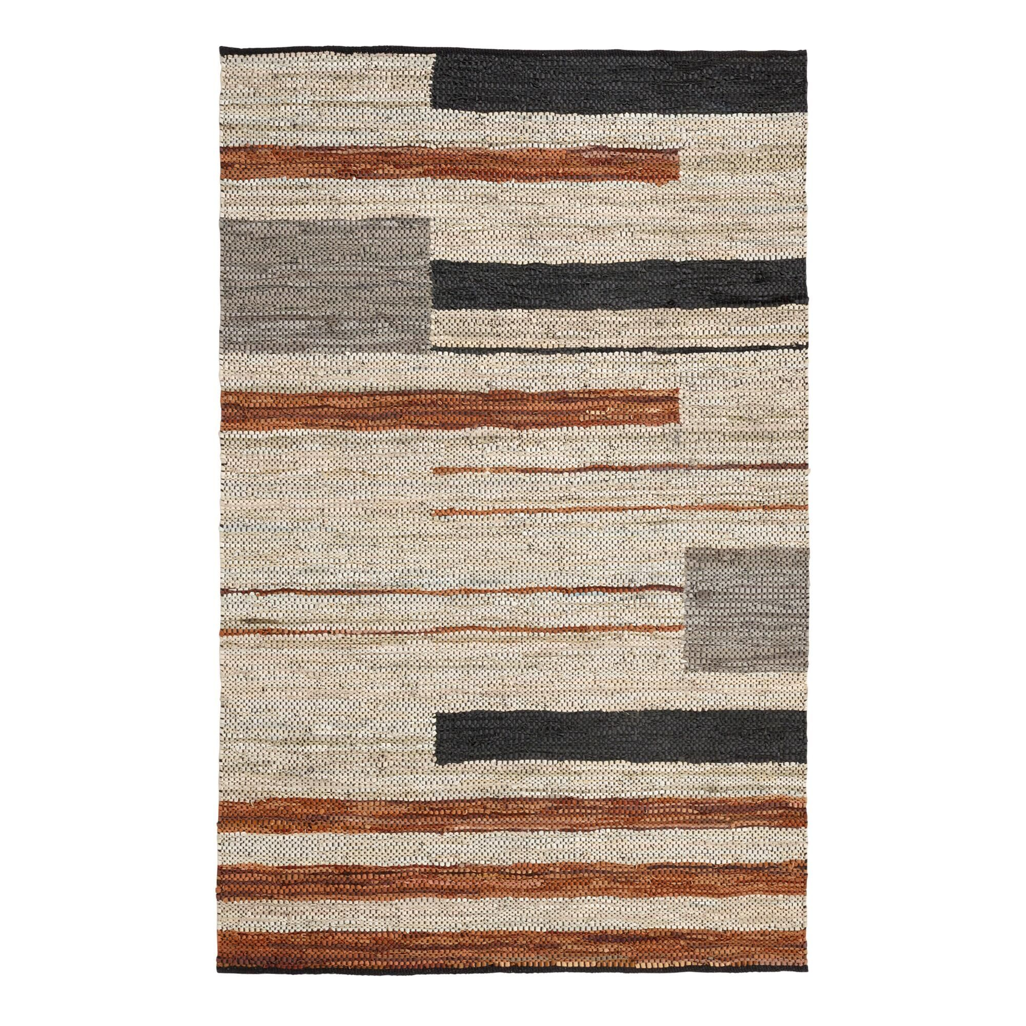 White Black And Brown Leather Fillmore Area Rug 8ftx10ft
