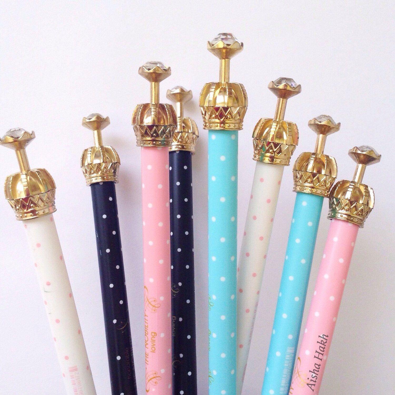 Gold Crown Pens- Fine Liner Gel Black Ink- Stationery Planner Polka Dots  Pink Blue