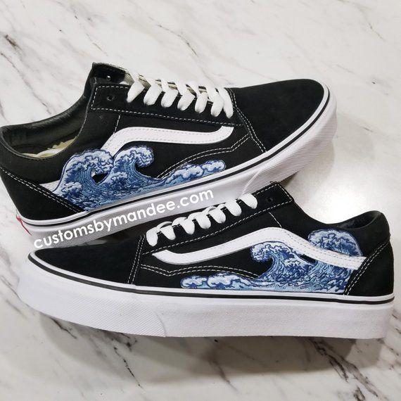 Waves Custom Embroidered Patch Vans Old Skool Sneakers Custom Vans Shoes Vans Shoes Fashion Hype Shoes