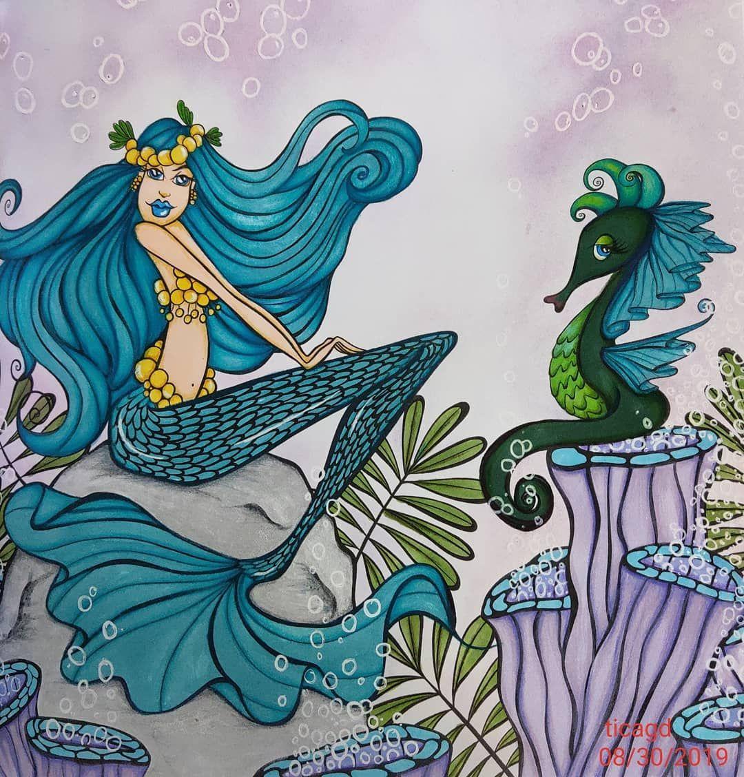 mermaids mermaidsinparadise seahorse Mermaid coloring