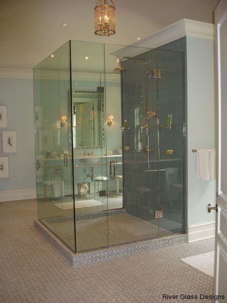 Clear frameless glass shower with glass on three sides and for All glass shower