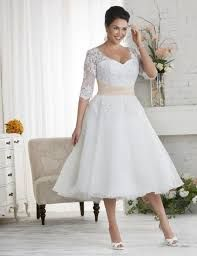 Image Result For Plus Size Lace Wedding Dress With Sleeves Tea Length