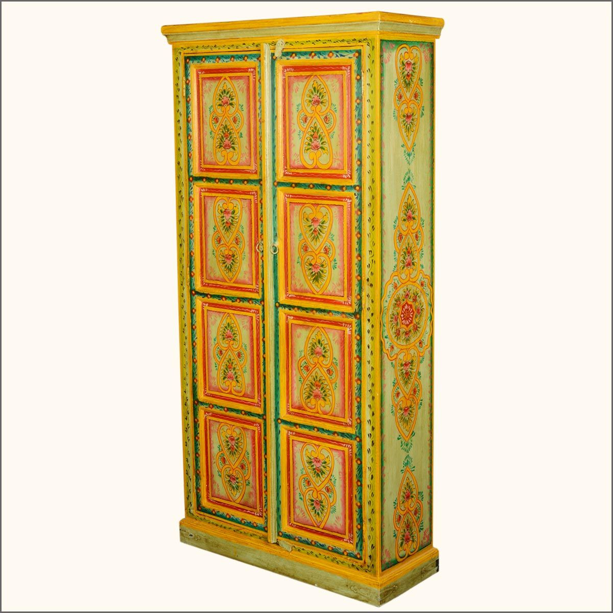 """The intricately painted Asian Designs that decorate our Hearts & Flowers 71.5"""" Tall #Armoire combine a touch of sweetness with magnificent craftsmanship. Bring this free standing closet into your home and control your own space. The expertly hand painted designs appear on the double doors and sides. Open the doors and discover a large 4-shelf armoire with a warm, brown interior. #interiors #contemporaryfurniture #homedecor #furniture #homeinspiration   http://www.sierralivingconcepts.com/"""