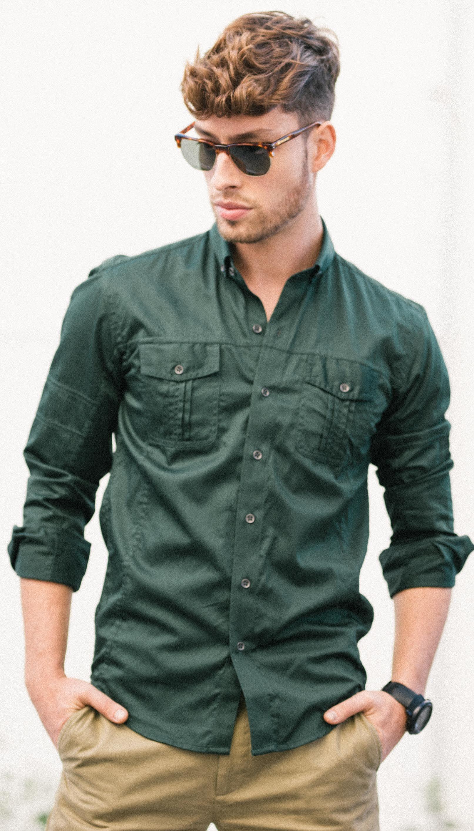75cb375b Men's modern utility shirt in green | Men's Utility Shirts in 2019 ...