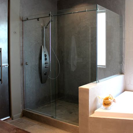 Frameless Euro Track Shower Doors Cardinal Skyline 90 Degree Unit