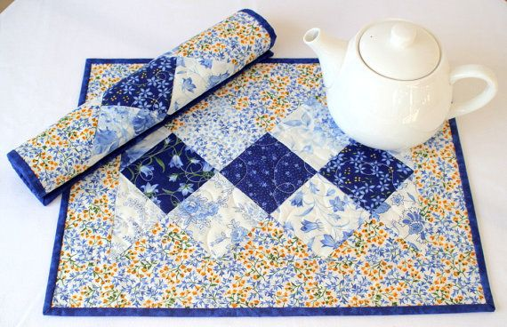 Quilted Placemats, Blue Yellow Table Mats, Floral Placemats, Fabric ...