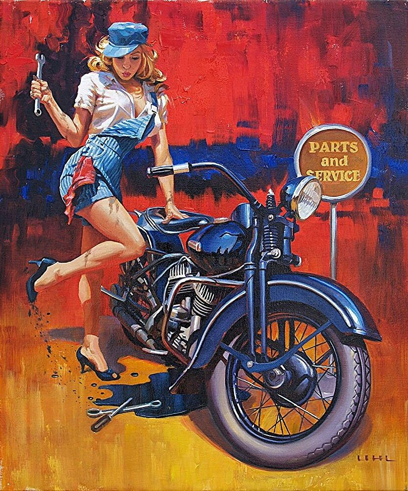 Fix er up delightful harley davidson pin up by artist david uhl fix er up delightful harley davidson pin up by artist david uhl uhl studios creates many of the artworks and t shirt designs for harley davidsons freerunsca Images