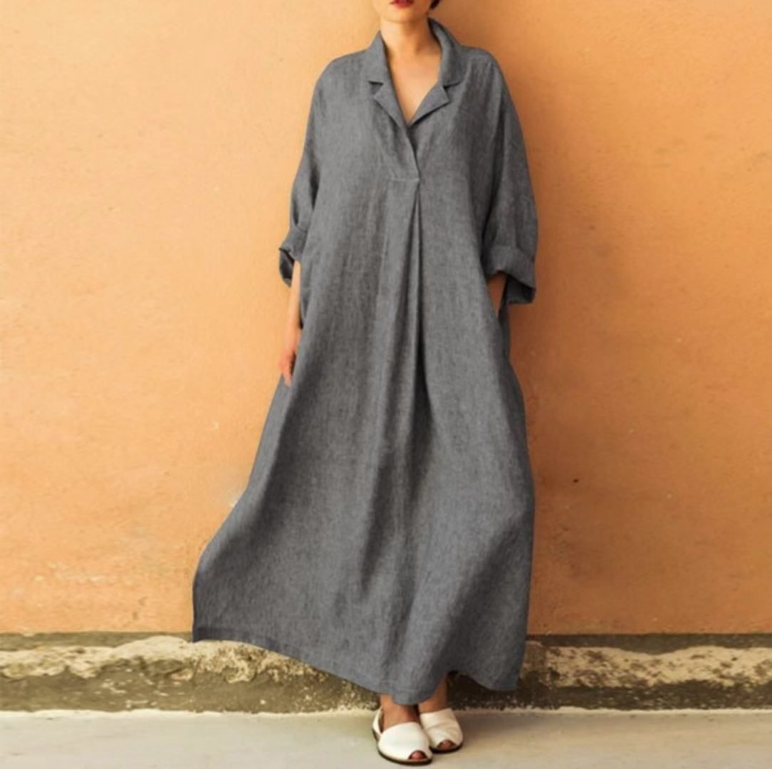 Women Plus Size Solid 3 4 Sleeves Maxi A Line Dress Shecici Casual Dresses Uk Maxi Dress Maxi Dresses Casual [ 1080 x 1084 Pixel ]