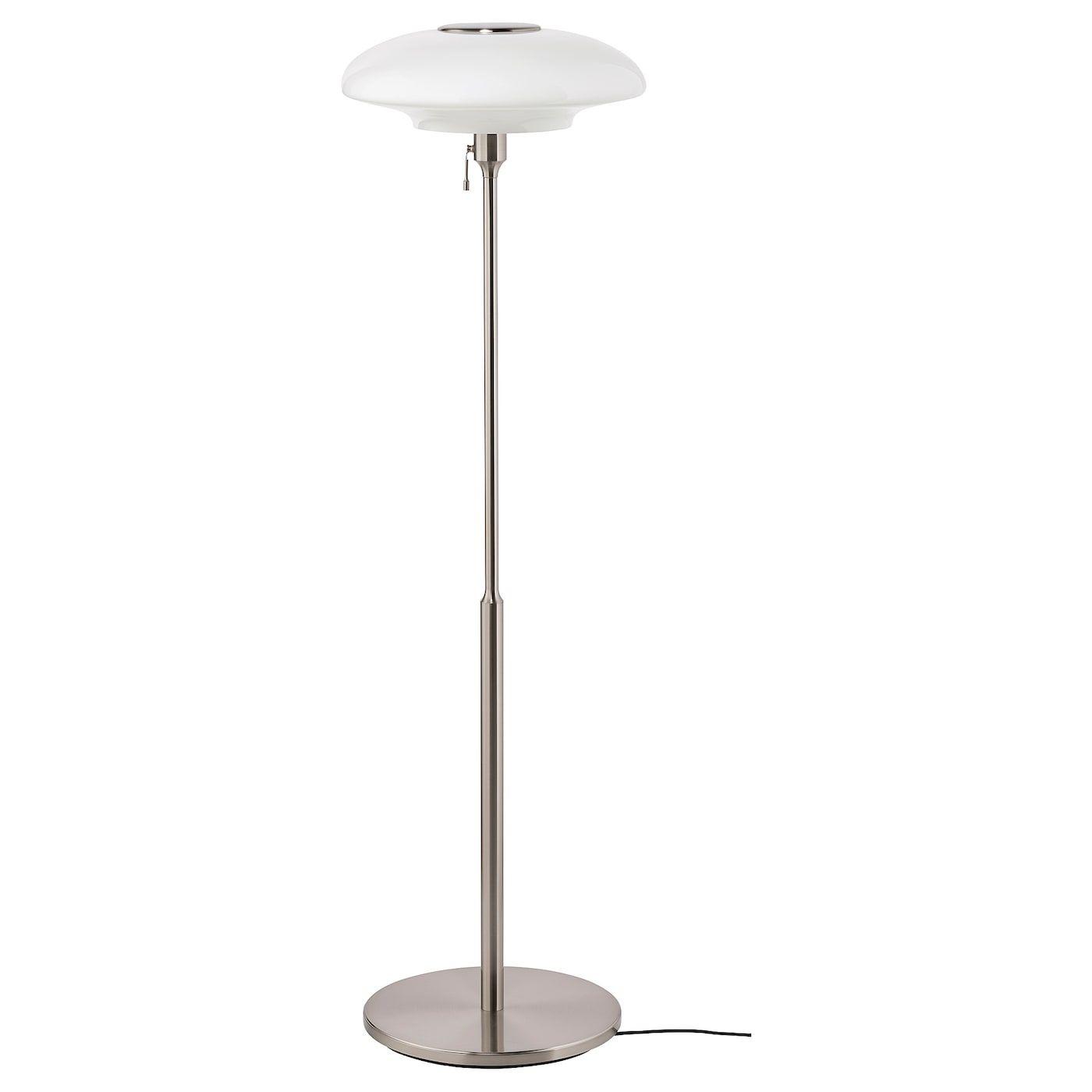 Tallbyn Staande Lamp Vernikkeld Opaalwit Glas 135 Cm Ikea Floor Lamp Ikea Floor Lamp Glass Floor Lamp
