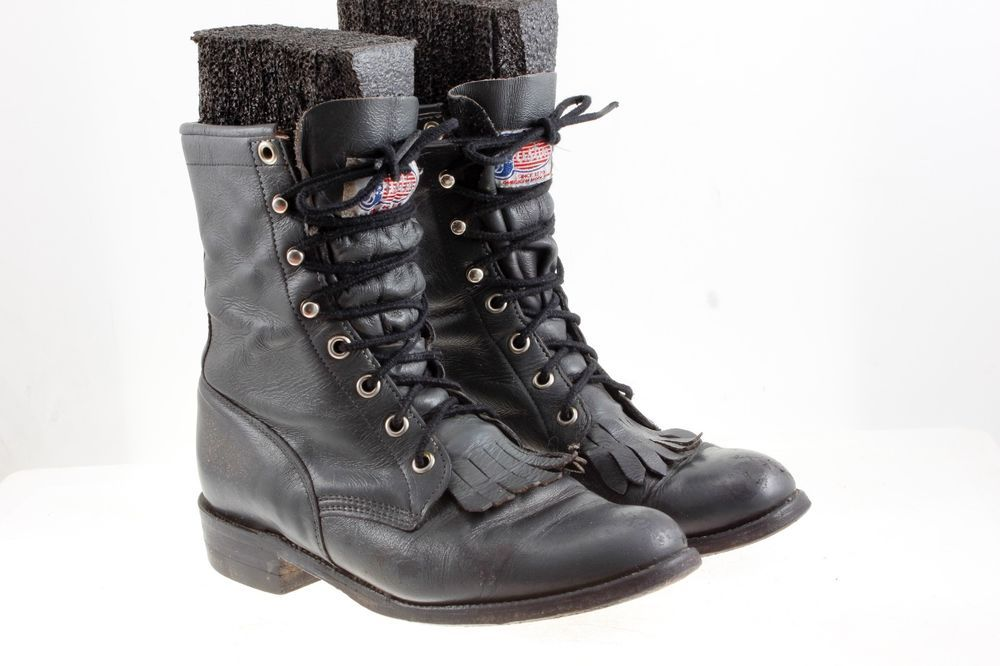 c2db7de0e07 Details about Justin Womens Sz 5.5 Gray Leather Lace Up Roper Boots ...