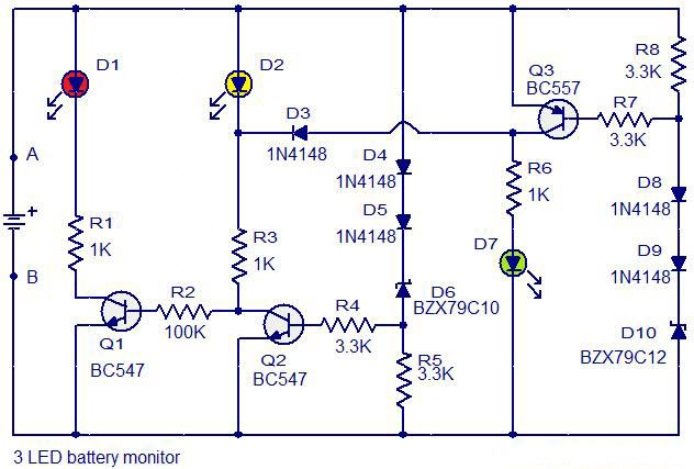 3 Led Battery Monitor Circuit Diagram Circuit Electronics Circuit Electronics Basics