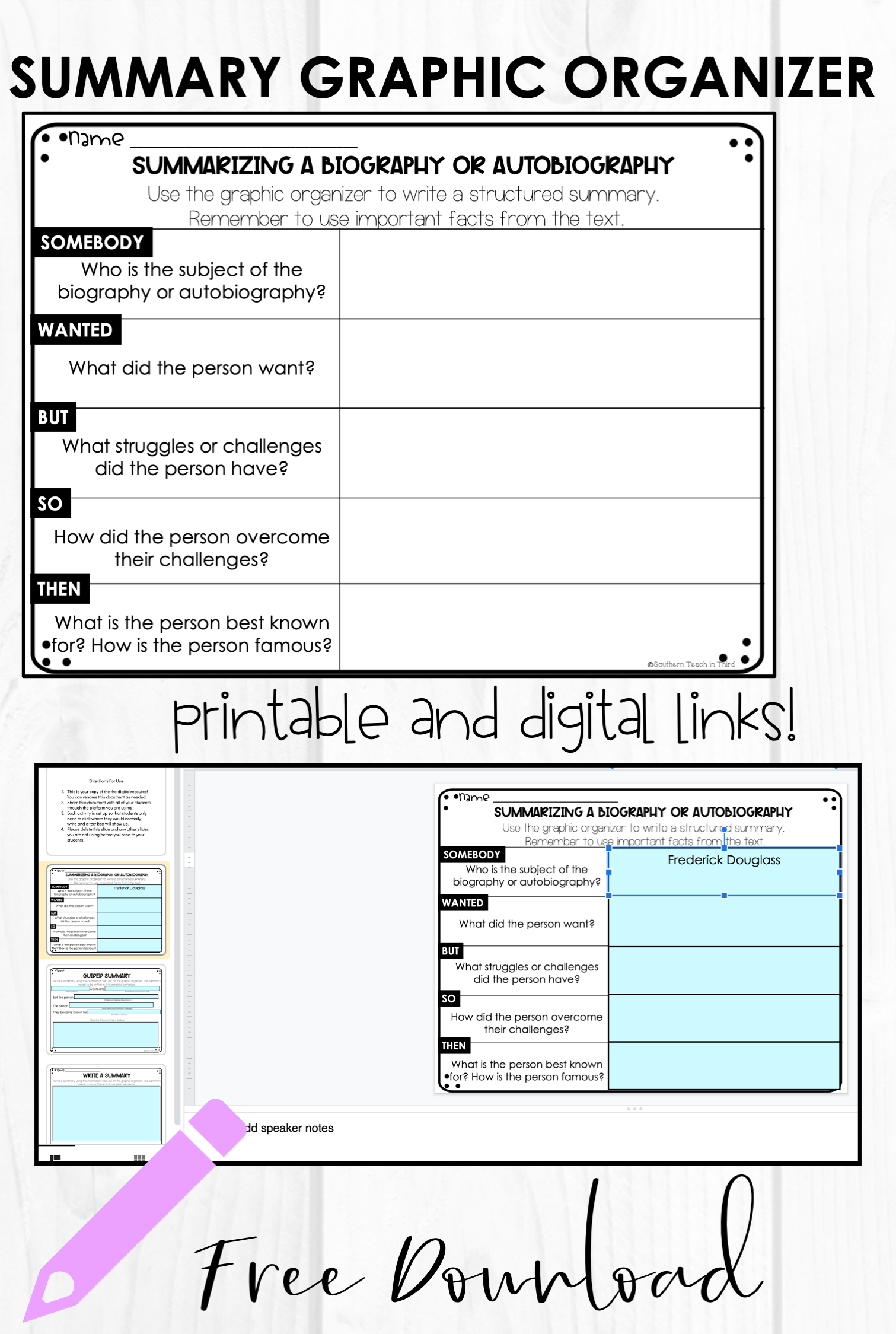 Summary Graphic Organizer For Biographies And