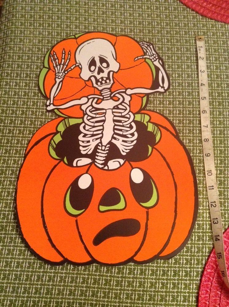 Vintage Eureka Die Cut Halloween Decoration Skeleton And Pumpkin