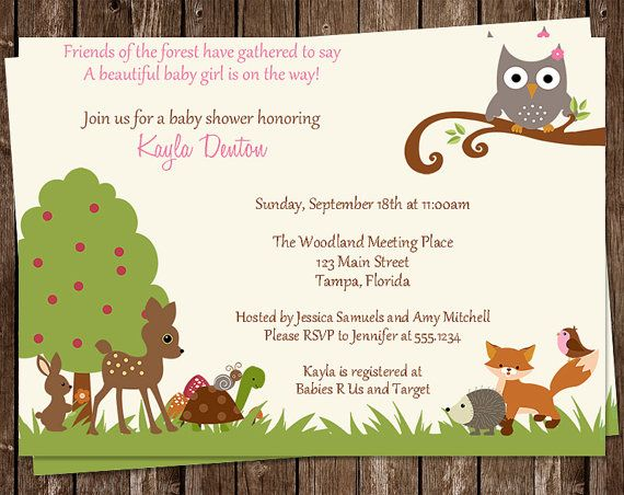 Woodland baby shower invitations pink animals owl fox tree top woodland baby shower invitations pink animals owl fox tree top pals rustic 10 printed invites free shipping forest girls custom filmwisefo Images