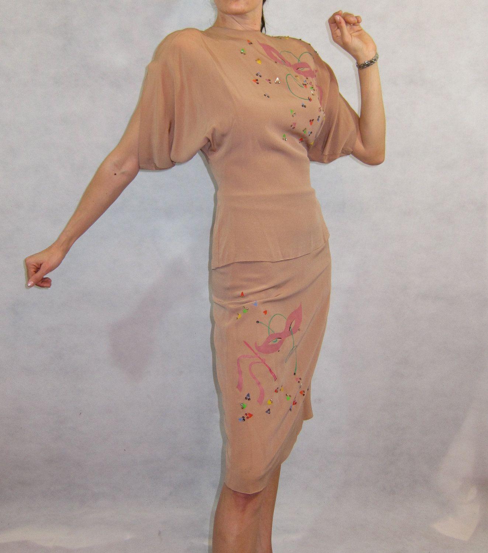 Holy-crap-hand-painted 1940's Mardi Gras Skirt Set - So Amazing! $199.99