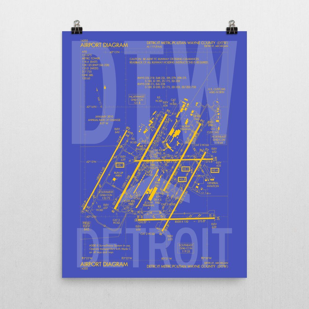 Dtw Detroit Poster Airport Diagram Design Poster Frame Diagram Design Acceptance Gift