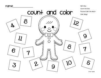Math Worksheets gingerbread man math worksheets : Gingerbread Man Count and Color Math Game FREEBIE - Keri Yamnik ...