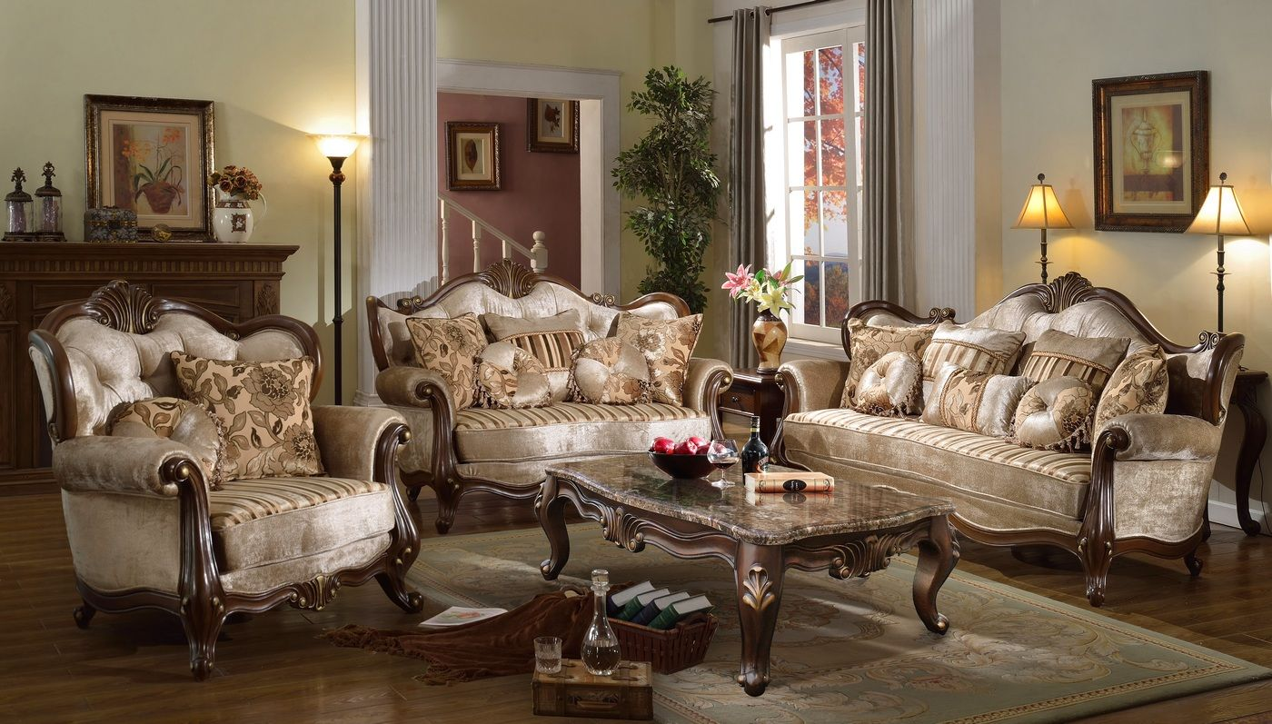 Marseille French Provincial Beige Chenille Sofa Loveseat Set Brown Finish Living Room Sofa Set Antique Living Rooms Antique Furniture Living Room