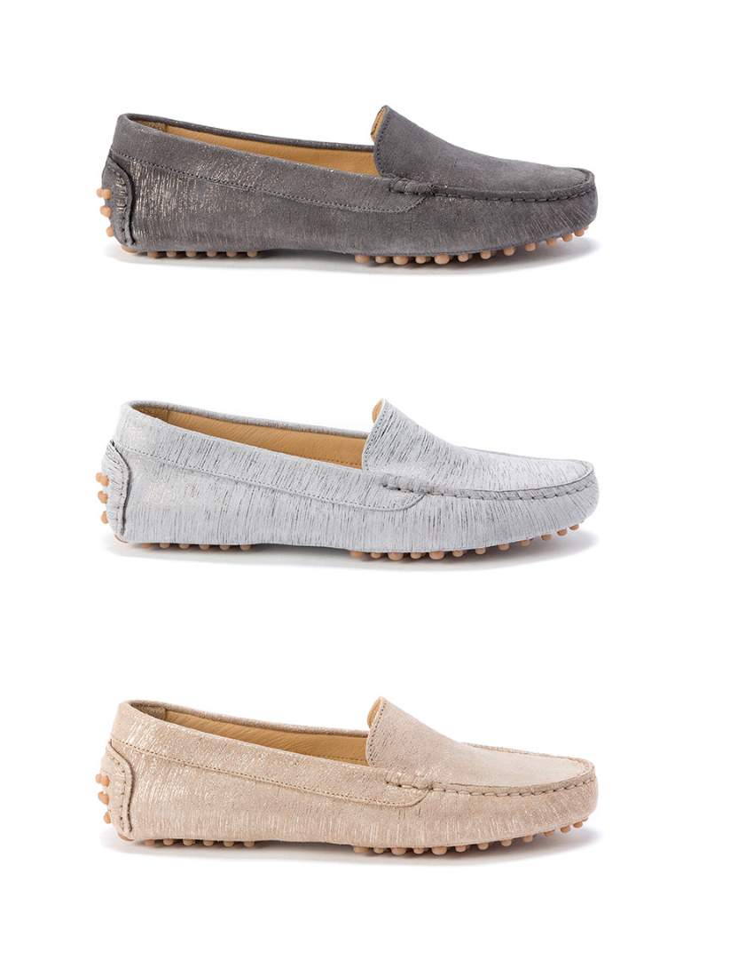 metallic washed suede driving moccasins