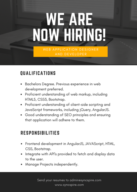 We are urgently looking for Web Application Designer