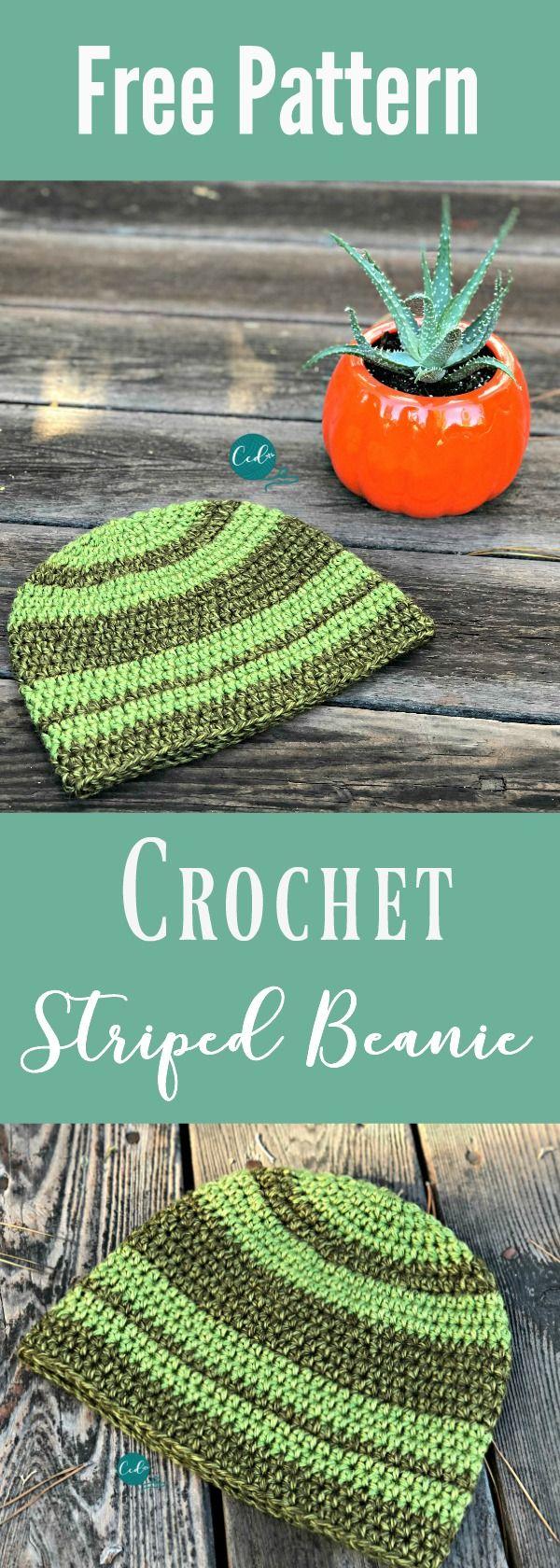 Striped Beanie Free Crochet Pattern | Easy crochet hat, Crochet ...