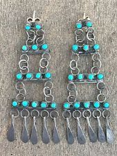 Vintage Zuni Snake Eye Turquoise Sterling Chandelier Earrings- Fast Ship!