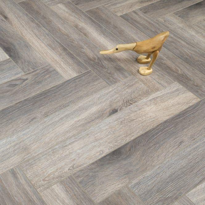 Emperor Smoke Grey Herringbone 12mm X 101mm V Groove Ac3 2 203m2 Flooring Laminate Flooring Herringbone Laminate Flooring