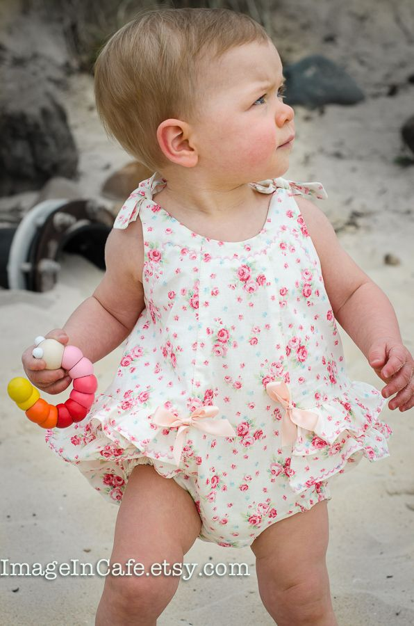 The Rose Bud Romper is a very special little summer romper for baby girls from 3 months to 3 years. Frilly and pretty with bow tie shoulders that allow for some adjustment in body length and snap fasteners at the crotch. The neckline and frills are stitched with a fancy machine stitch using glossy embroidery thread to add a special touch. Most sewing machines have a variety of fancy stitches to choose from --- just try out a few on your machine to see which is most suitable. The top ...