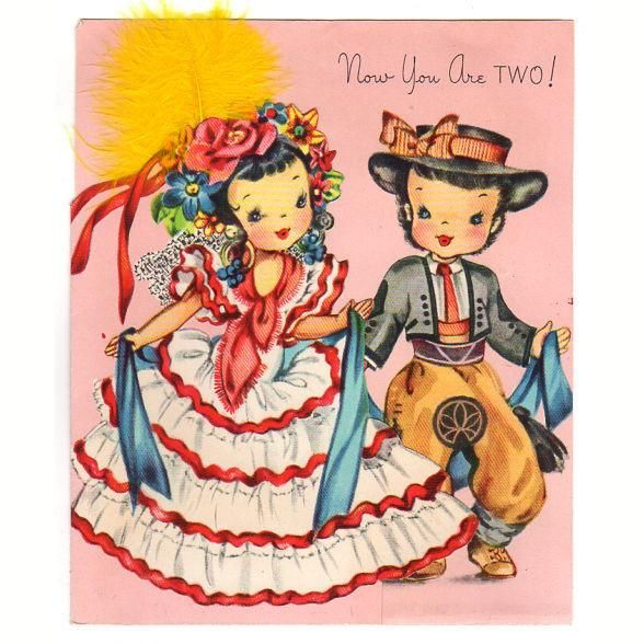 Vintage two year old birthday card spanish children girl in ruffled vintage two year old birthday card spanish children girl in ruffled dress used m4hsunfo