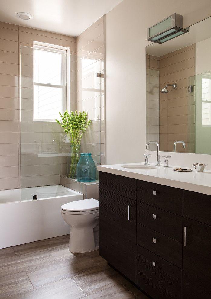Bathroom Design Wood Tile Bathroom Transitional Design Ideas