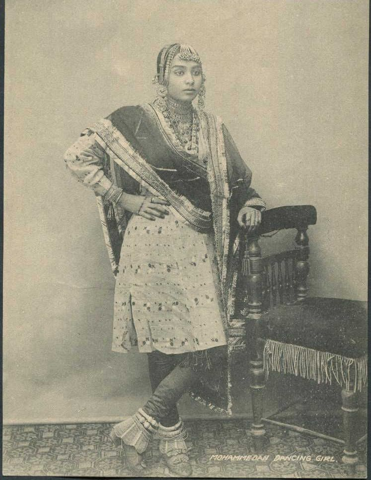 Nautch Dancing Girl ,Jaipur 1890S  India - Vintage -8053