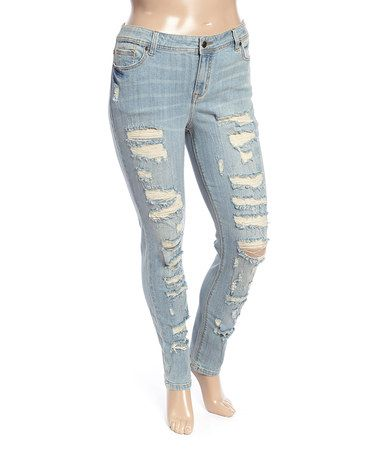 Riot Light Blue Mid-Rise Ripped Skinny Jeans - Plus by Eunina #zulily #zulilyfinds