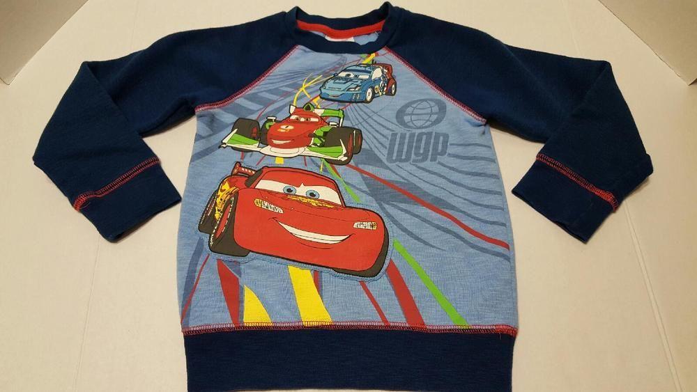 DISNEY STORE Cars LIGHTNING MCQUEEN Toddler Boys SIZE XS 4 SWEATER Sweat Shirt #DisneyStore #Pullover