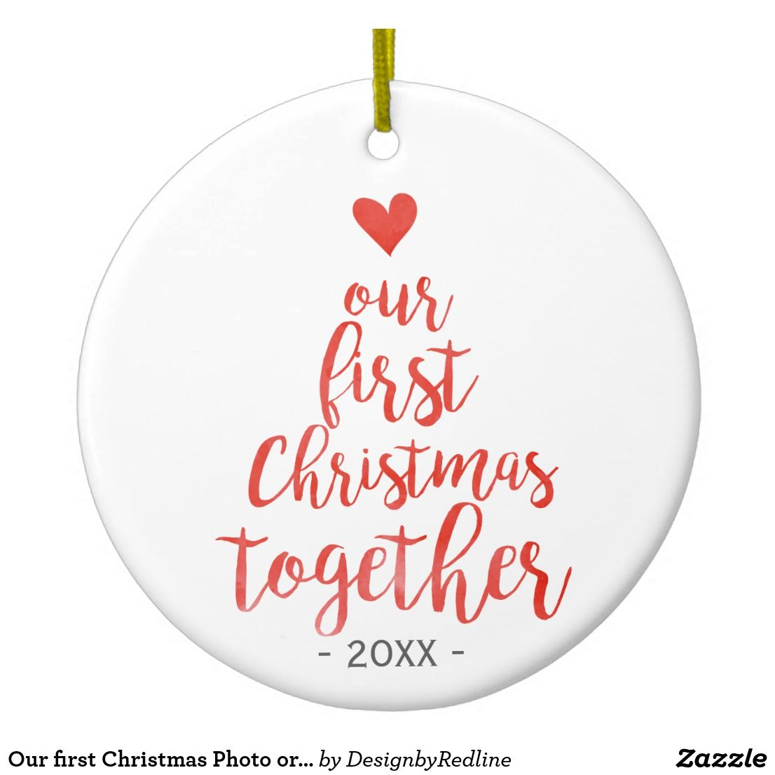 Our first Christmas Photo ornament red script | Zazzle.com ...