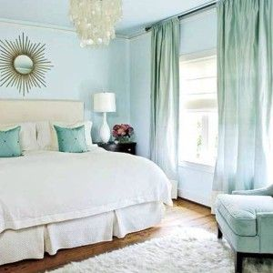 Calming Colors For Bedrooms With Champagne Curtains And Round