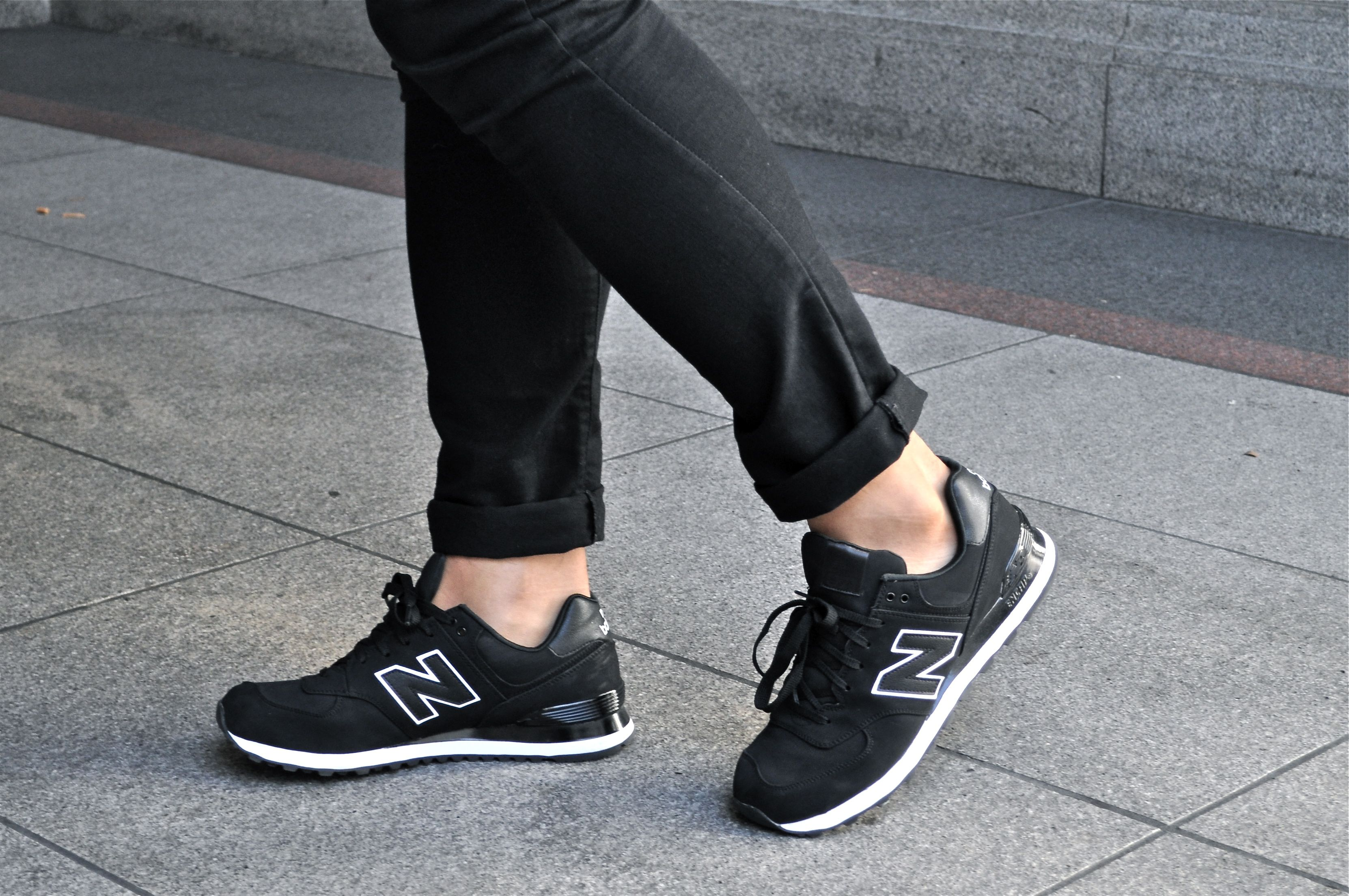 all black suede new balance 574