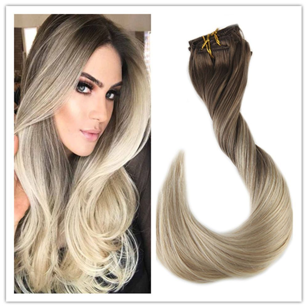 Pcs remy balayage clip in hair extensions t ombre human hair