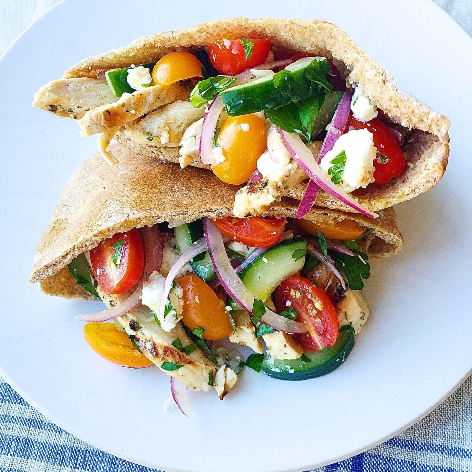 Greek Salad Pita Pockets With Grilled Chicken